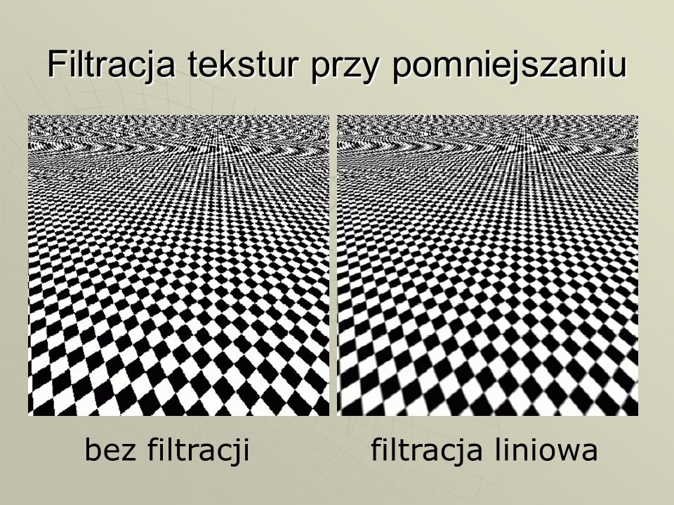 Filtracja tekstur przy pomniejszaniu bez filtracjifiltracja liniowa
