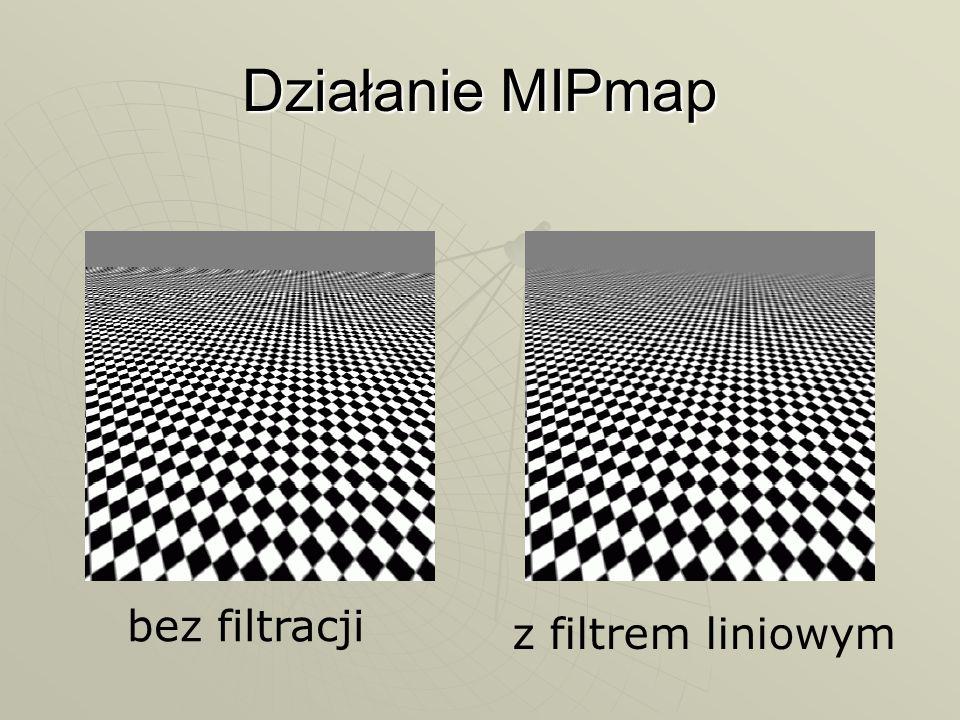 Działanie MIPmap bez filtracji z filtrem liniowym