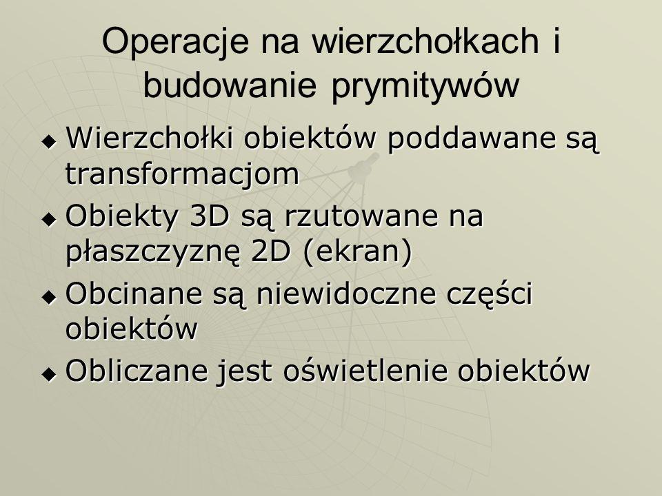 Format piksela Format piksela jest niezależny od aktualnego trybu kolorów PIXELFORMATDESCRIPTOR pfd; ZeroMemory( &pfd, sizeof( pfd ) ); pfd.nSize = sizeof( pfd ); pfd.nVersion = 1; pfd.dwFlags = PFD_DRAW_TO_WINDOW | PFD_SUPPORT_OPENGL | PFD_DOUBLEBUFFER; pfd.iPixelType = PFD_TYPE_RGBA; pfd.cColorBits = 24; pfd.cDepthBits = 16; int iFormat = ChoosePixelFormat( hDC, &pfd ); SetPixelFormat( hDC, iFormat, &pfd ); Format piksela jest niezależny od aktualnego trybu kolorów PIXELFORMATDESCRIPTOR pfd; ZeroMemory( &pfd, sizeof( pfd ) ); pfd.nSize = sizeof( pfd ); pfd.nVersion = 1; pfd.dwFlags = PFD_DRAW_TO_WINDOW | PFD_SUPPORT_OPENGL | PFD_DOUBLEBUFFER; pfd.iPixelType = PFD_TYPE_RGBA; pfd.cColorBits = 24; pfd.cDepthBits = 16; int iFormat = ChoosePixelFormat( hDC, &pfd ); SetPixelFormat( hDC, iFormat, &pfd );