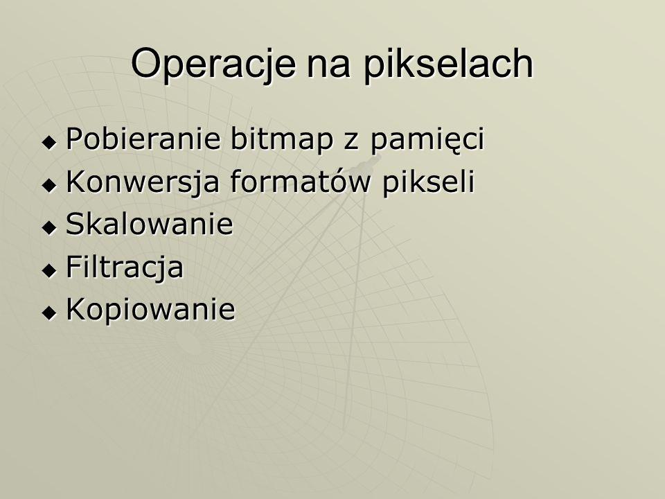 Operacje na pikselach Pobieranie bitmap z pamięci Pobieranie bitmap z pamięci Konwersja formatów pikseli Konwersja formatów pikseli Skalowanie Skalowa
