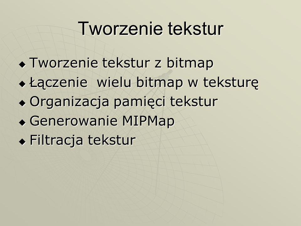 Tworzenie tekstur Tworzenie tekstur z bitmap Tworzenie tekstur z bitmap Łączenie wielu bitmap w teksturę Łączenie wielu bitmap w teksturę Organizacja