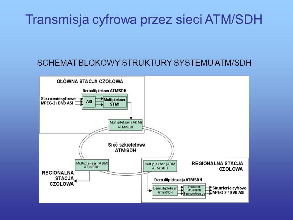 Transmisja cyfrowa przez sieci ATM/SDH Korzyści wynikające z transmisji programów telewizji cyfrowej poprzez sieci ATM/SDH to przede wszystkim: możliw