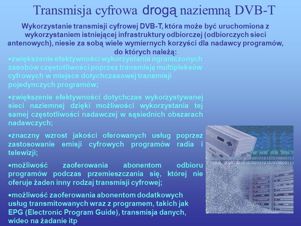 Transmisja cyfrowa drogą naziemną DVB-T Systemy transmisji cyfrowej sygnałów telewizyjnych drogą radiofuzji naziemnej (DVB-T) są jednym z rodzajów sie