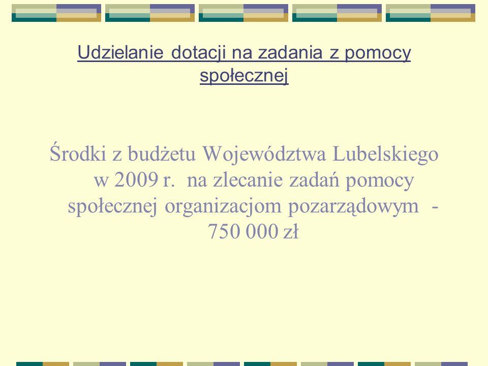 Udzielanie dotacji na zadania z pomocy społecznej Środki z budżetu Województwa Lubelskiego w 2009 r. na zlecanie zadań pomocy społecznej organizacjom