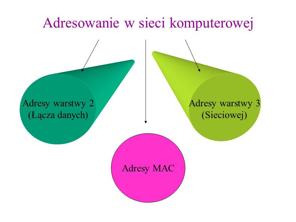 Adresowanie w sieci komputerowej Adresy warstwy 2 (Łącza danych) Adresy warstwy 3 (Sieciowej) Adresy MAC