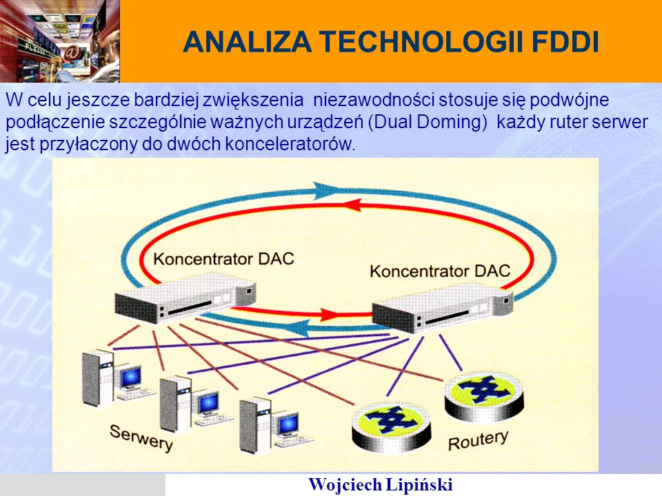 Wojciech Lipiński ANALIZA TECHNOLOGII FDDI W celu jeszcze bardziej zwiększenia niezawodności stosuje się podwójne podłączenie szczególnie ważnych urządzeń (Dual Doming) każdy ruter serwer jest przyłaczony do dwóch konceleratorów.