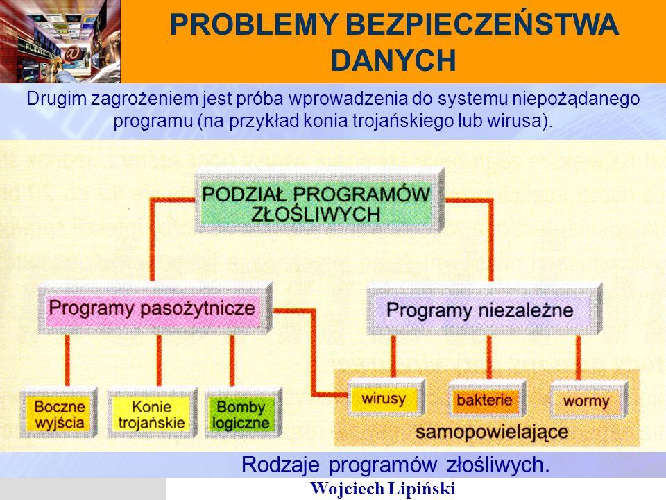 Wojciech Lipiński PROBLEMY BEZPIECZEŃSTWA DANYCH Drugim zagrożeniem jest próba wprowadzenia do systemu niepożądanego programu (na przykład konia trojańskiego lub wirusa).