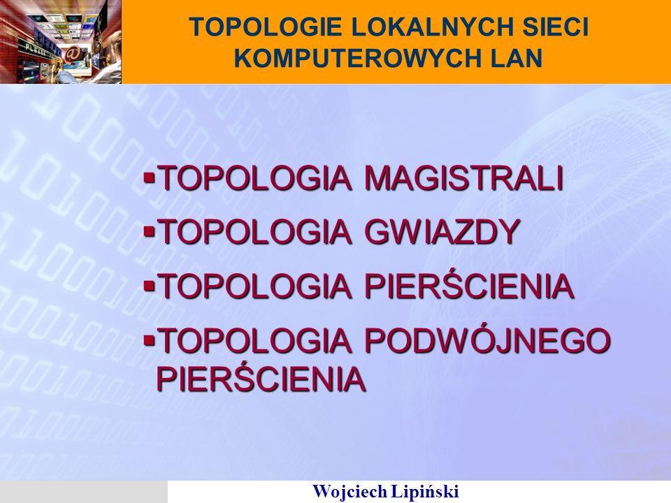 Wojciech Lipiński TOPOLOGIE LOKALNYCH SIECI KOMPUTEROWYCH LAN TOPOLOGIA MAGISTRALI TOPOLOGIA MAGISTRALI TOPOLOGIA GWIAZDY TOPOLOGIA GWIAZDY TOPOLOGIA PIERŚCIENIA TOPOLOGIA PIERŚCIENIA TOPOLOGIA PODWÓJNEGO PIERŚCIENIA TOPOLOGIA PODWÓJNEGO PIERŚCIENIA