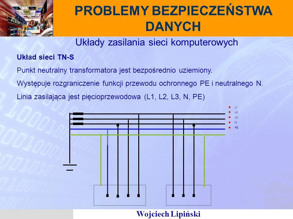 Wojciech Lipiński PROBLEMY BEZPIECZEŃSTWA DANYCH Układy zasilania sieci komputerowych Układ sieci TN-S Punkt neutralny transformatora jest bezpośrednio uziemiony.