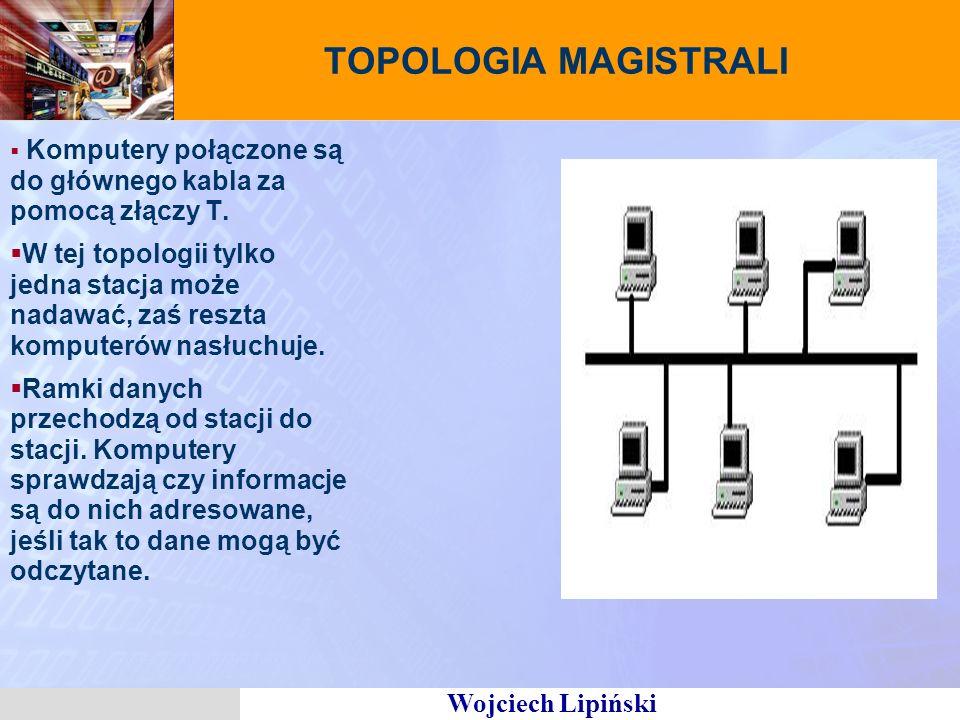 Wojciech Lipiński TOPOLOGIA MAGISTRALI Komputery połączone są do głównego kabla za pomocą złączy T. W tej topologii tylko jedna stacja może nadawać, z