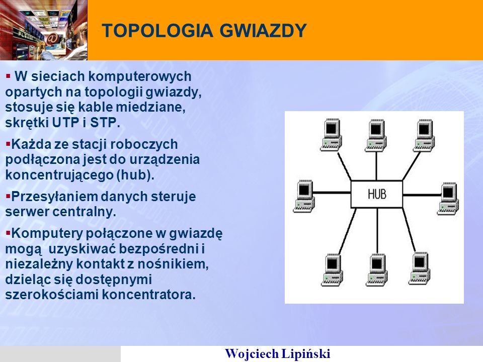 Wojciech Lipiński TOPOLOGIA GWIAZDY W sieciach komputerowych opartych na topologii gwiazdy, stosuje się kable miedziane, skrętki UTP i STP.