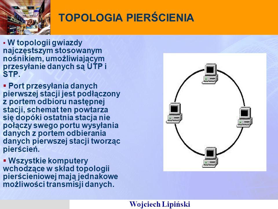 Wojciech Lipiński TOPOLOGIA PIERŚCIENIA W topologii gwiazdy najczęstszym stosowanym nośnikiem, umożliwiającym przesyłanie danych są UTP i STP. Port pr
