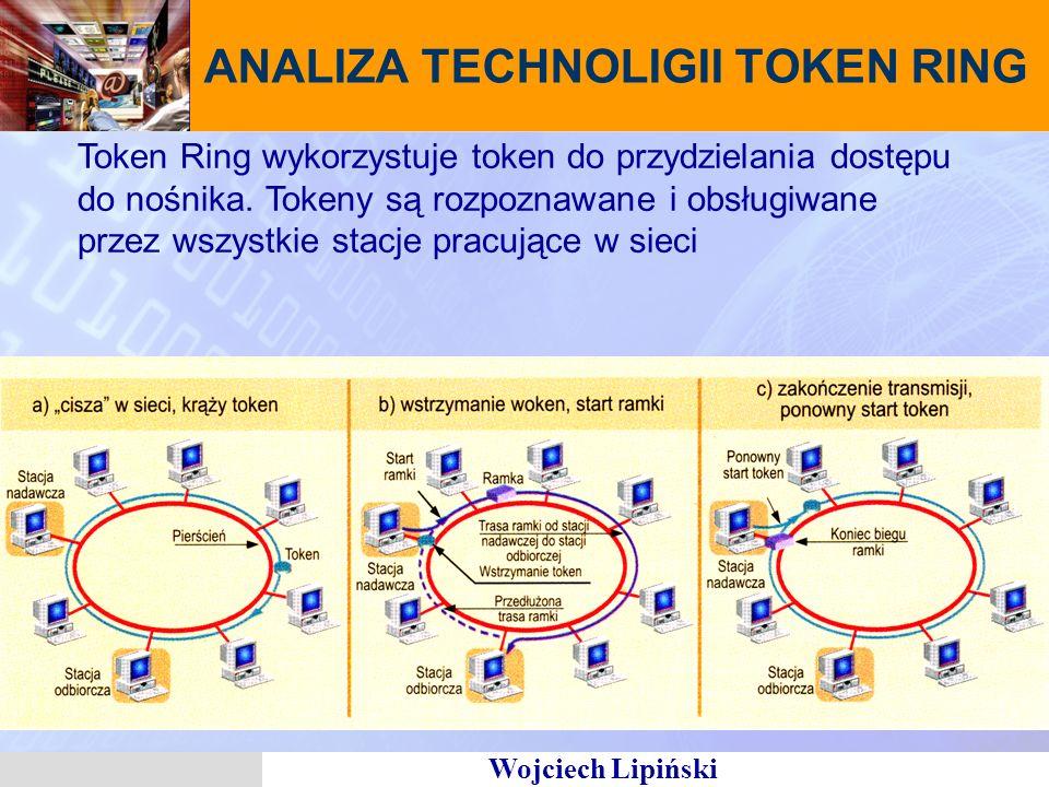 Wojciech Lipiński ANALIZA TECHNOLIGII TOKEN RING Token Ring wykorzystuje token do przydzielania dostępu do nośnika. Tokeny są rozpoznawane i obsługiwa