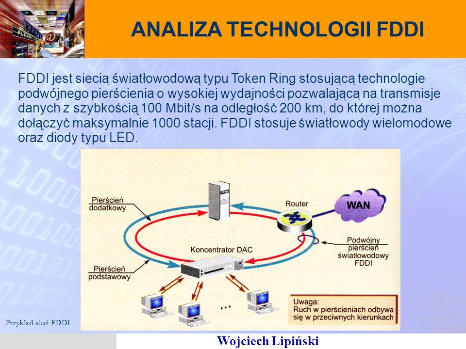 Wojciech Lipiński ANALIZA TECHNOLOGII FDDI FDDI jest siecią światłowodową typu Token Ring stosującą technologie podwójnego pierścienia o wysokiej wydajności pozwalającą na transmisje danych z szybkością 100 Mbit/s na odległość 200 km, do której można dołączyć maksymalnie 1000 stacji.