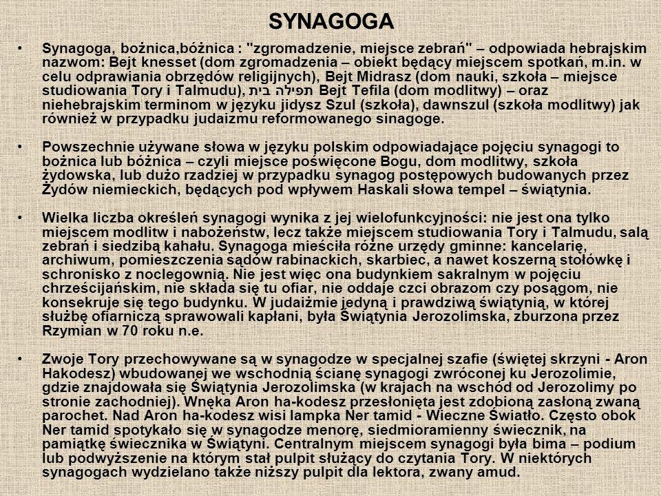 SYNAGOGA Synagoga, bożnica,bóżnica : zgromadzenie, miejsce zebrań – odpowiada hebrajskim nazwom: Bejt knesset (dom zgromadzenia – obiekt będący miejscem spotkań, m.in.