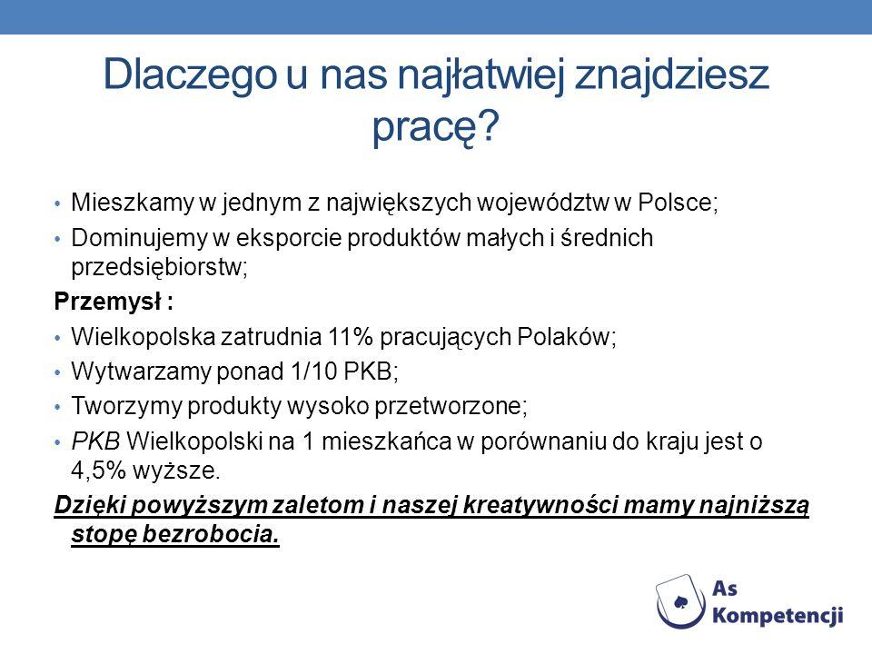 Dlaczego u nas najłatwiej znajdziesz pracę? Mieszkamy w jednym z największych województw w Polsce; Dominujemy w eksporcie produktów małych i średnich