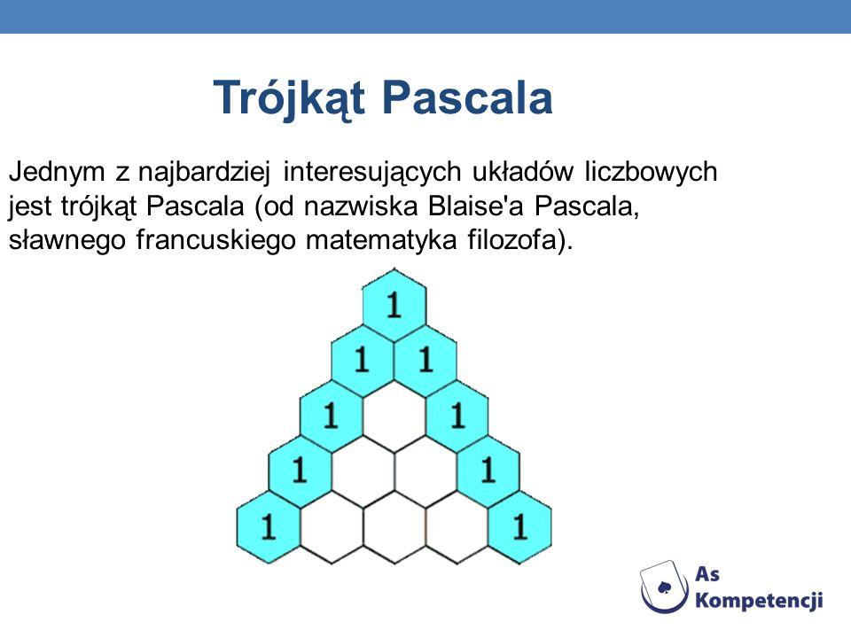 Trójkąt Pascala Jednym z najbardziej interesujących układów liczbowych jest trójkąt Pascala (od nazwiska Blaise'a Pascala, sławnego francuskiego matem