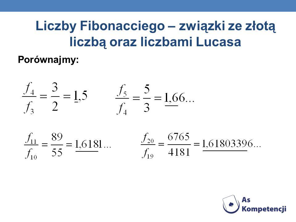 Liczby Fibonacciego – związki ze złotą liczbą oraz liczbami Lucasa Porównajmy: