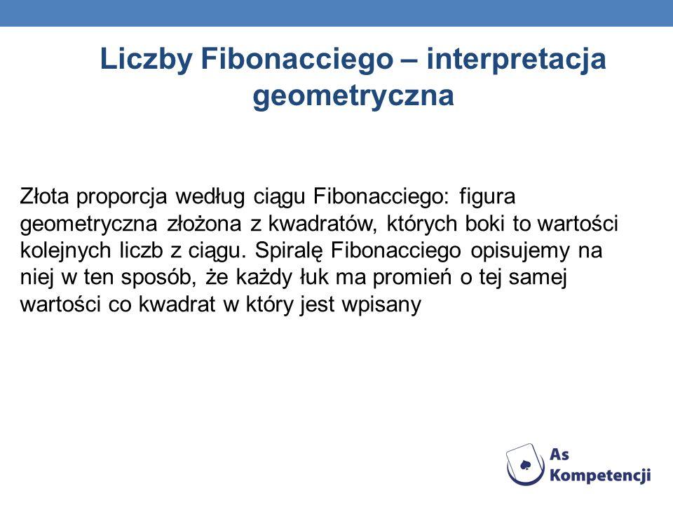 Liczby Fibonacciego – interpretacja geometryczna Złota proporcja według ciągu Fibonacciego: figura geometryczna złożona z kwadratów, których boki to w