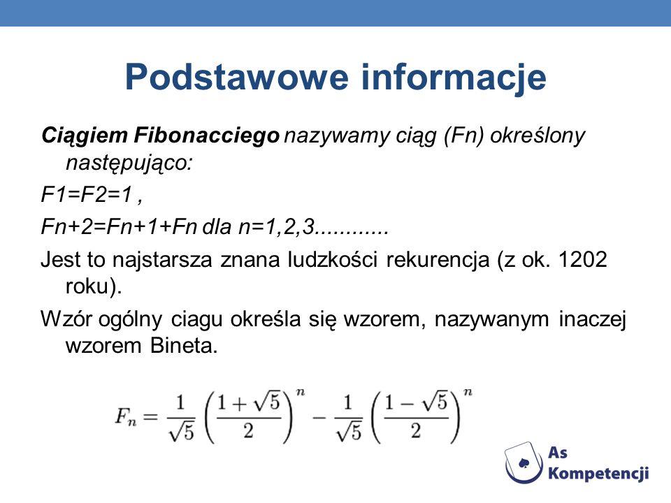 Podstawowe informacje Ciągiem Fibonacciego nazywamy ciąg (Fn) określony następująco: F1=F2=1, Fn+2=Fn+1+Fn dla n=1,2,3............ Jest to najstarsza