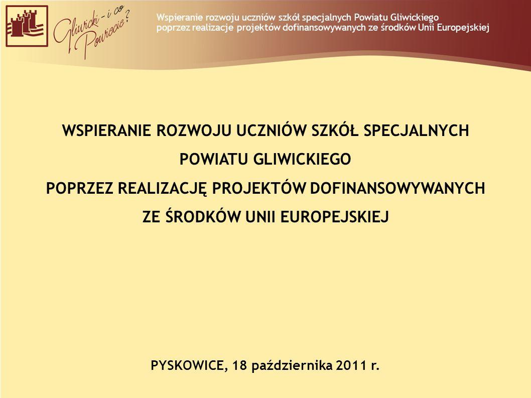 Wspieranie rozwoju uczniów szkół specjalnych Powiatu Gliwickiego poprzez realizacje projektów dofinansowywanych ze środków Unii Europejskiej WSPIERANI