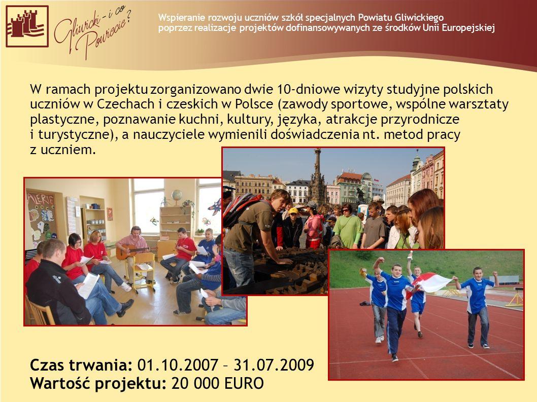 W ramach projektu zorganizowano dwie 10-dniowe wizyty studyjne polskich uczniów w Czechach i czeskich w Polsce (zawody sportowe, wspólne warsztaty pla