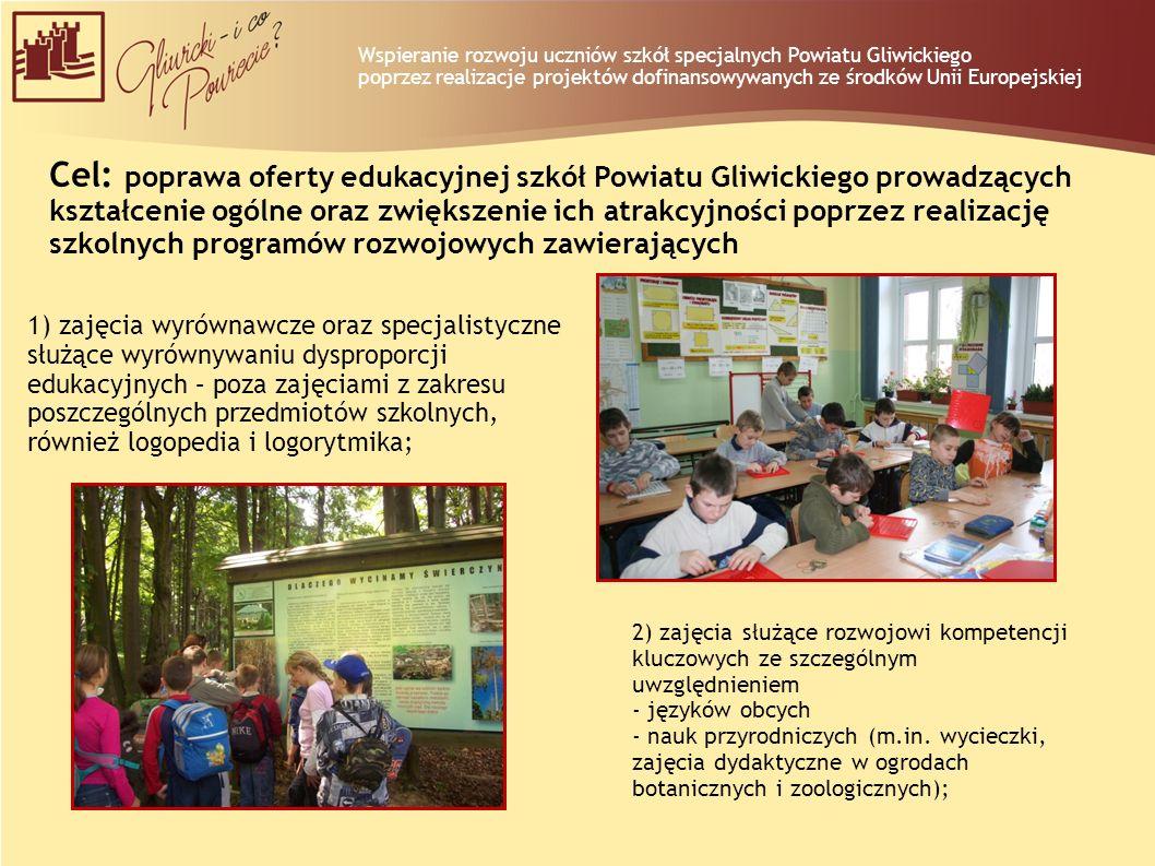 Cel: poprawa oferty edukacyjnej szkół Powiatu Gliwickiego prowadzących kształcenie ogólne oraz zwiększenie ich atrakcyjności poprzez realizację szkoln