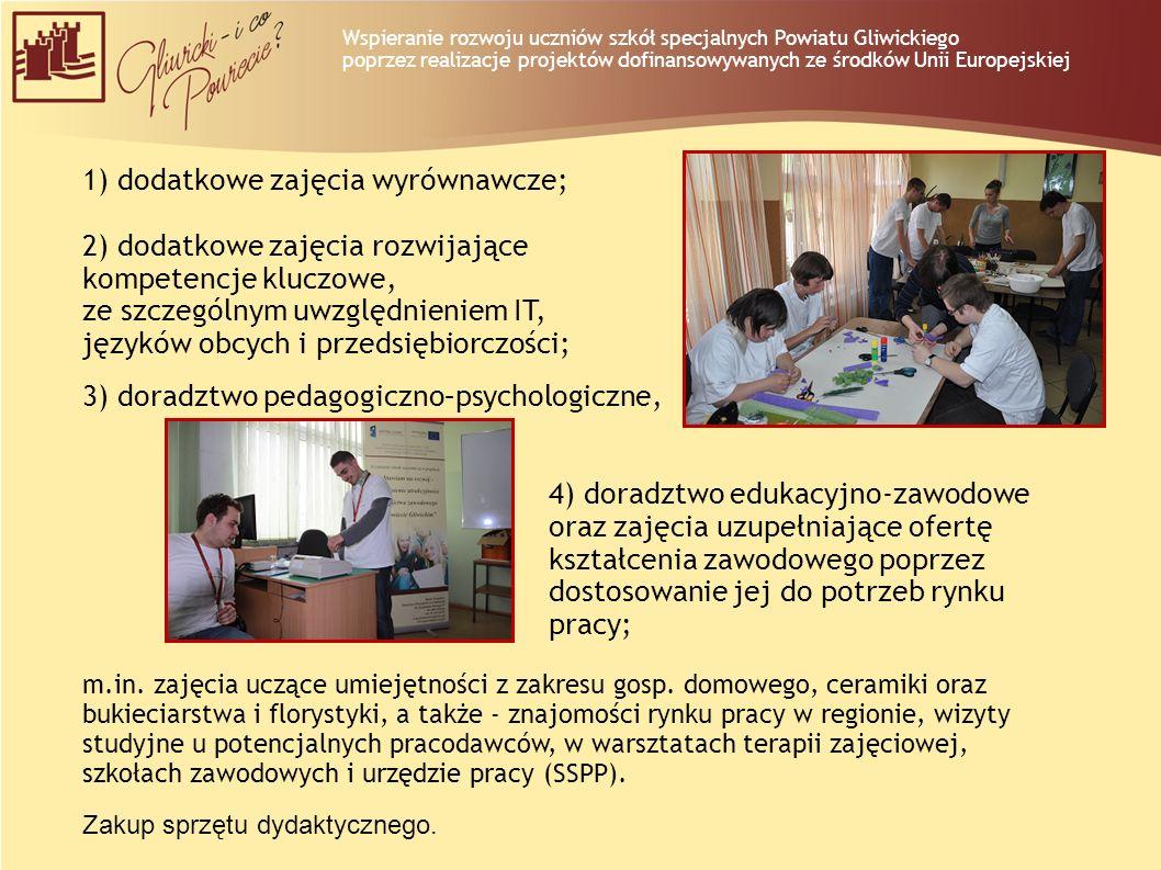 1) dodatkowe zajęcia wyrównawcze; 2) dodatkowe zajęcia rozwijające kompetencje kluczowe, ze szczególnym uwzględnieniem IT, języków obcych i przedsiębi
