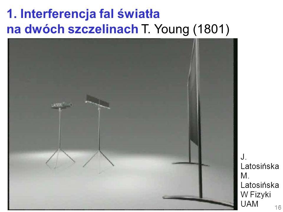 16 1. Interferencja fal światła na dwóch szczelinach T. Young (1801) J. Latosińska M. Latosińska W Fizyki UAM