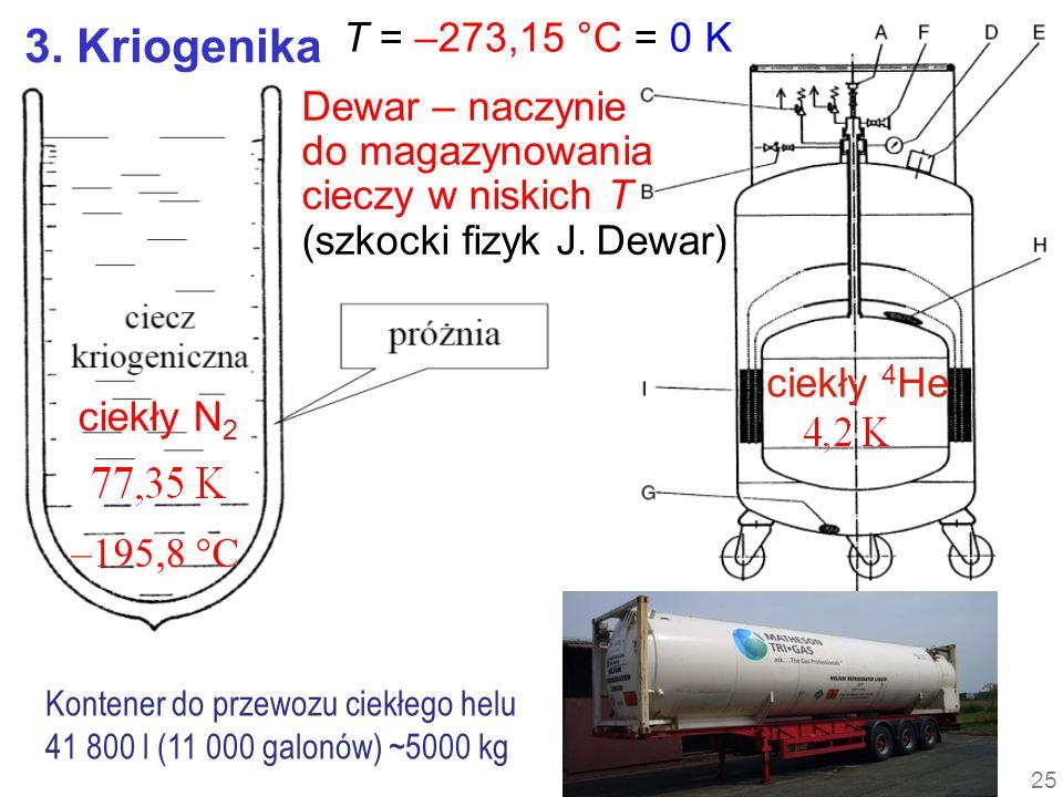 3. Kriogenika ciekły 4 He Dewar – naczynie do magazynowania cieczy w niskich T (szkocki fizyk J. Dewar) Kontener do przewozu ciekłego helu 41 800 l (1