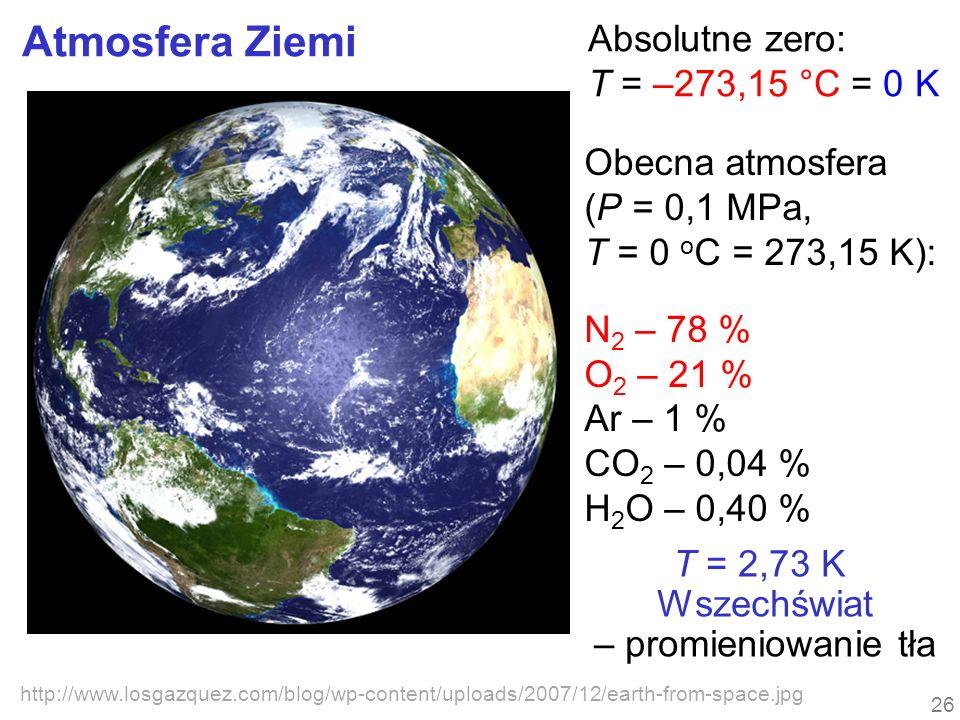 Atmosfera Ziemi http://www.losgazquez.com/blog/wp-content/uploads/2007/12/earth-from-space.jpg Obecna atmosfera (P = 0,1 MPa, T = 0 o C = 273,15 K): N 2 – 78 % O 2 – 21 % Ar – 1 % CO 2 – 0,04 % H 2 O – 0,40 % T = 2,73 K Wszechświat – promieniowanie tła 26 Absolutne zero: T = –273,15 °C = 0 K