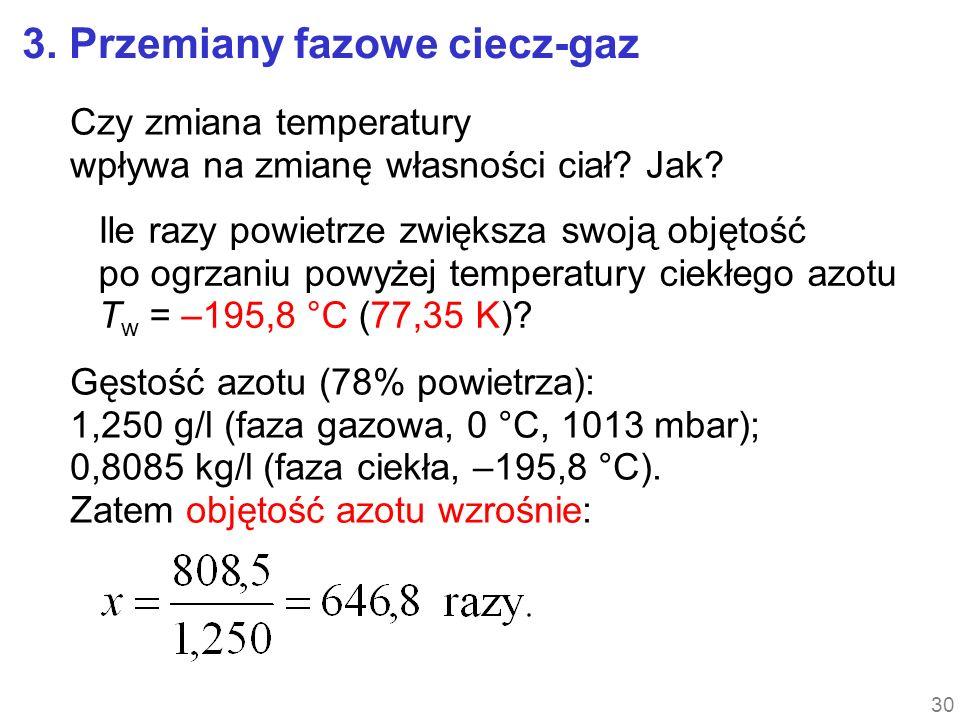 3. Przemiany fazowe ciecz-gaz Czy zmiana temperatury wpływa na zmianę własności ciał? Jak? Ile razy powietrze zwiększa swoją objętość po ogrzaniu powy