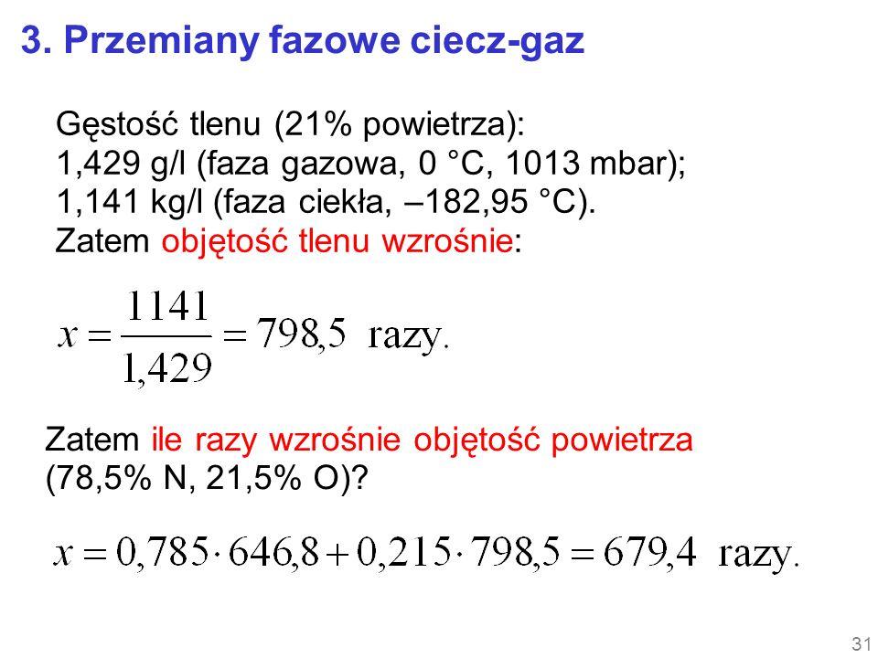 Gęstość tlenu (21% powietrza): 1,429 g/l (faza gazowa, 0 °C, 1013 mbar); 1,141 kg/l (faza ciekła, –182,95 °C). Zatem objętość tlenu wzrośnie: Zatem il