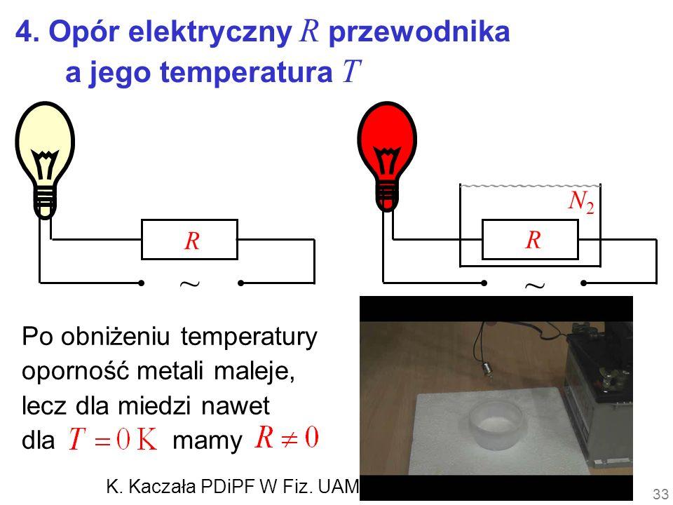 Po obniżeniu temperatury oporność metali maleje, lecz dla miedzi nawet dla mamy R R ~ ~ 4. Opór elektryczny R przewodnika a jego temperatura T N2N2 33
