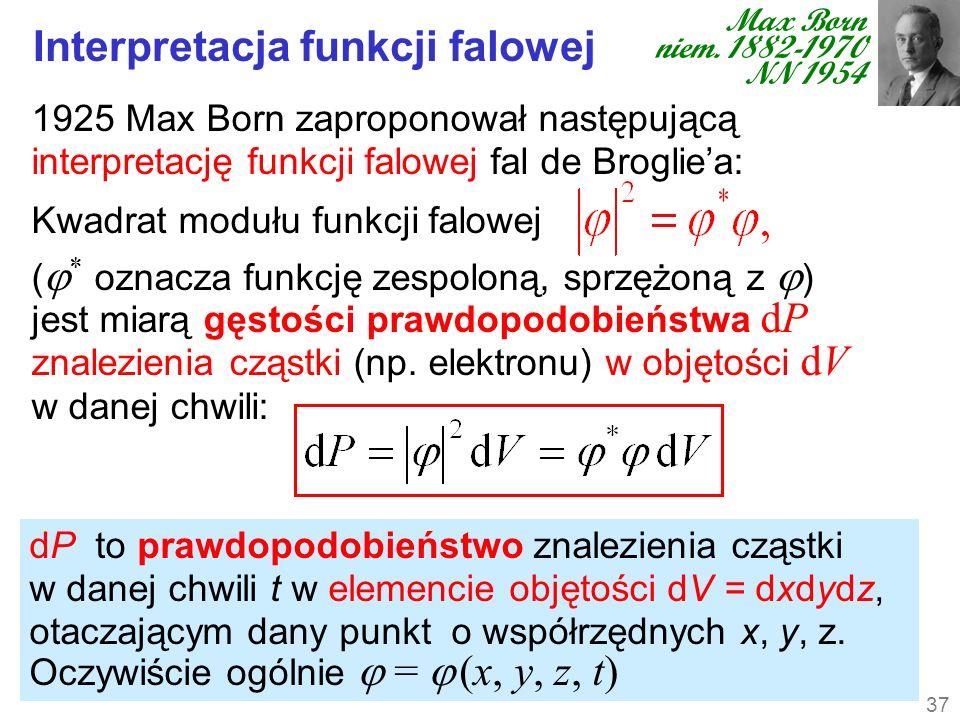dP to prawdopodobieństwo znalezienia cząstki w danej chwili t w elemencie objętości dV = dxdydz, otaczającym dany punkt o współrzędnych x, y, z. Oczyw