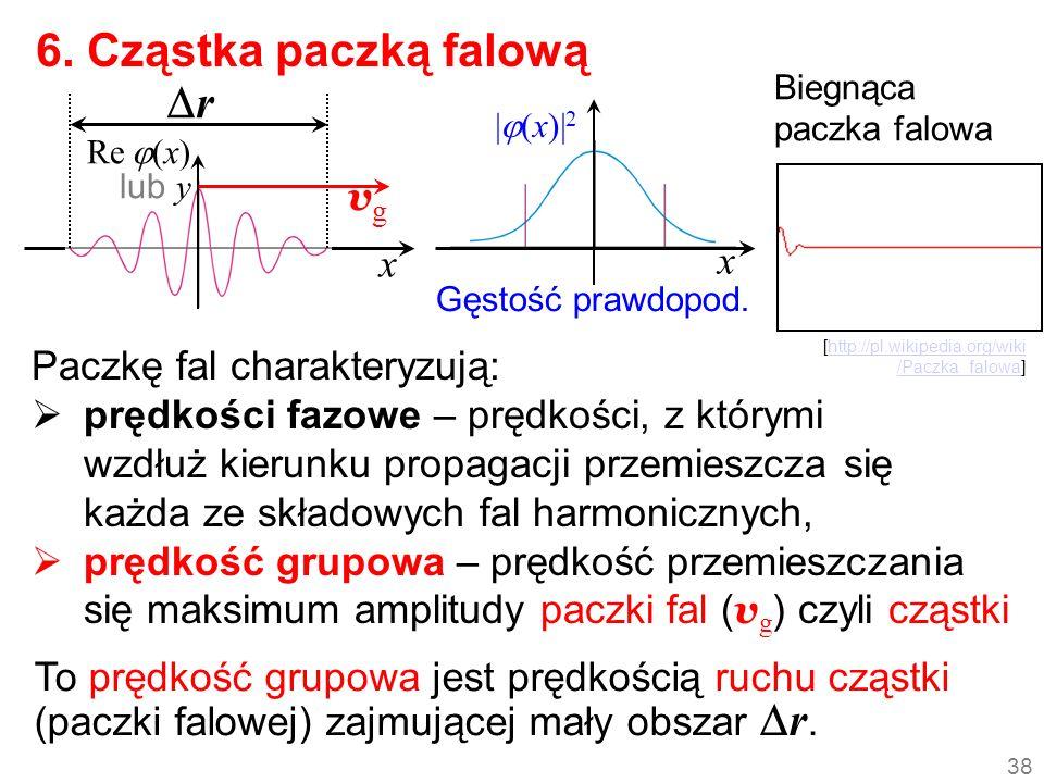 x r Paczkę fal charakteryzują: prędkości fazowe – prędkości, z którymi wzdłuż kierunku propagacji przemieszcza się każda ze składowych fal harmoniczny
