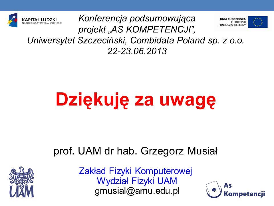 Dziękuję za uwagę prof. UAM dr hab. Grzegorz Musiał Zakład Fizyki Komputerowej Wydział Fizyki UAM gmusial@amu.edu.pl Konferencja podsumowująca projekt