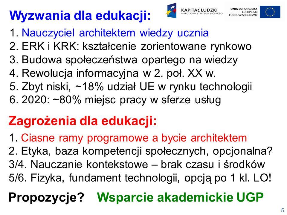 5 1. Nauczyciel architektem wiedzy ucznia 2. ERK i KRK: kształcenie zorientowane rynkowo 3. Budowa społeczeństwa opartego na wiedzy 4. Rewolucja infor