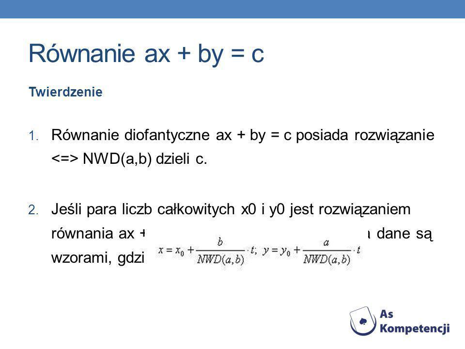 Równanie ax + by = c Twierdzenie 1. Równanie diofantyczne ax + by = c posiada rozwiązanie NWD(a,b) dzieli c. 2. Jeśli para liczb całkowitych x0 i y0 j