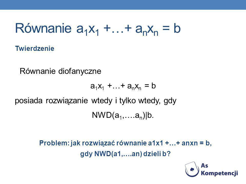 Równanie a 1 x 1 +…+ a n x n = b Twierdzenie Równanie diofanyczne a 1 x 1 +…+ a n x n = b posiada rozwiązanie wtedy i tylko wtedy, gdy NWD(a 1,….a n )