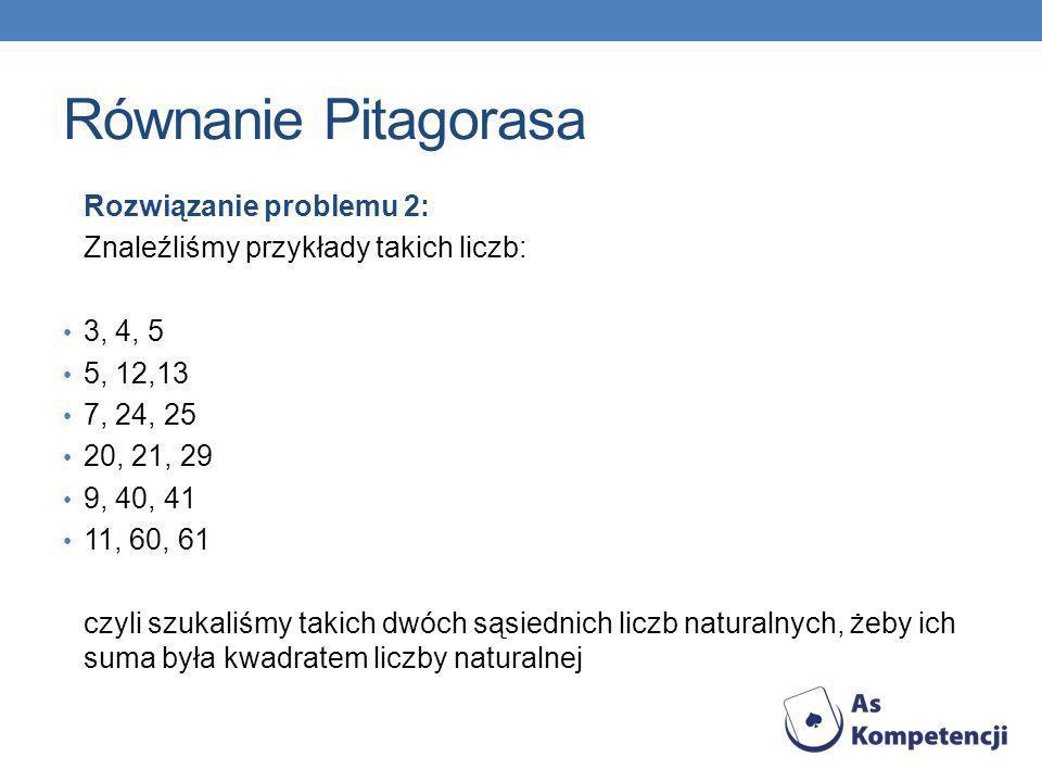 Równanie Pitagorasa Rozwiązanie problemu 2: Znaleźliśmy przykłady takich liczb: 3, 4, 5 5, 12,13 7, 24, 25 20, 21, 29 9, 40, 41 11, 60, 61 czyli szuka