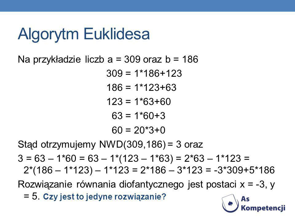 Algorytm Euklidesa Na przykładzie liczb a = 309 oraz b = 186 309 = 1*186+123 186 = 1*123+63 123 = 1*63+60 63 = 1*60+3 60 = 20*3+0 Stąd otrzymujemy NWD