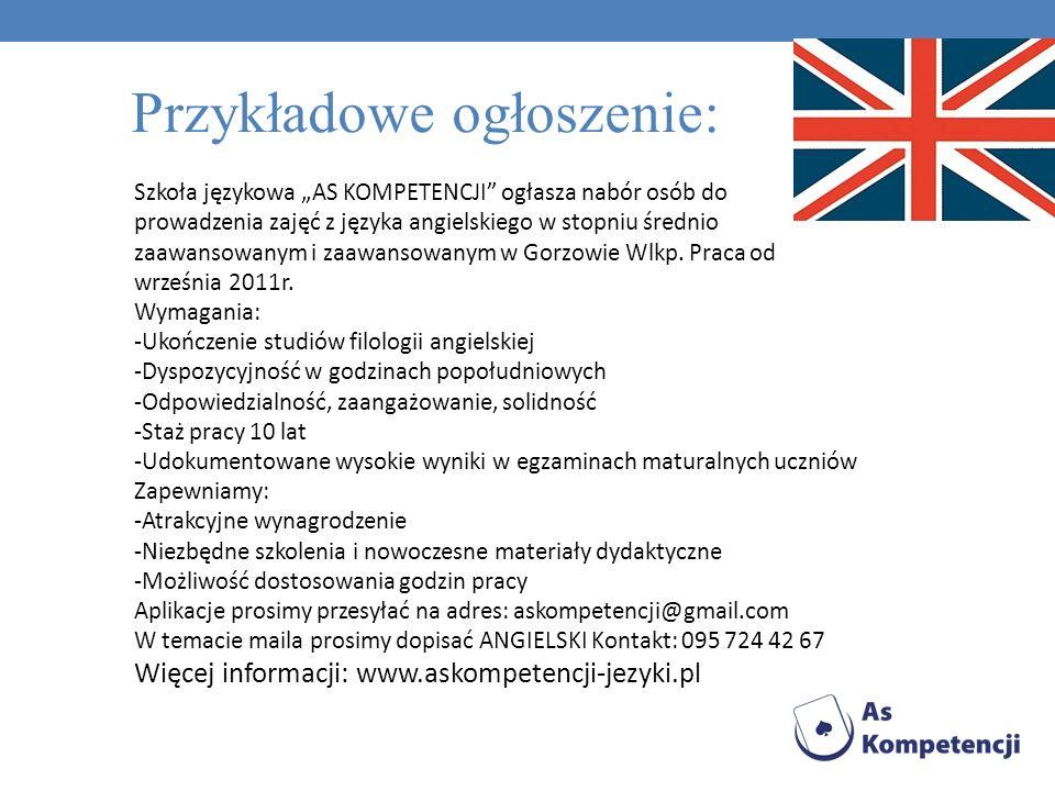 Szkoła językowa AS KOMPETENCJI ogłasza nabór osób do prowadzenia zajęć z języka francuskiego w stopniu średnio zaawansowanym i zaawansowanym w Gorzowie Wlkp.