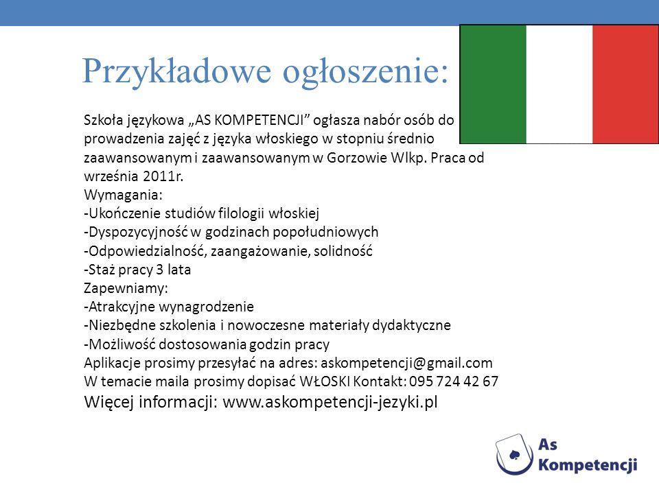 Szkoła językowa AS KOMPETENCJI ogłasza nabór osób do prowadzenia zajęć z języka niemieckiego w stopniu średnio zaawansowanym i zaawansowanym w Gorzowie Wlkp.