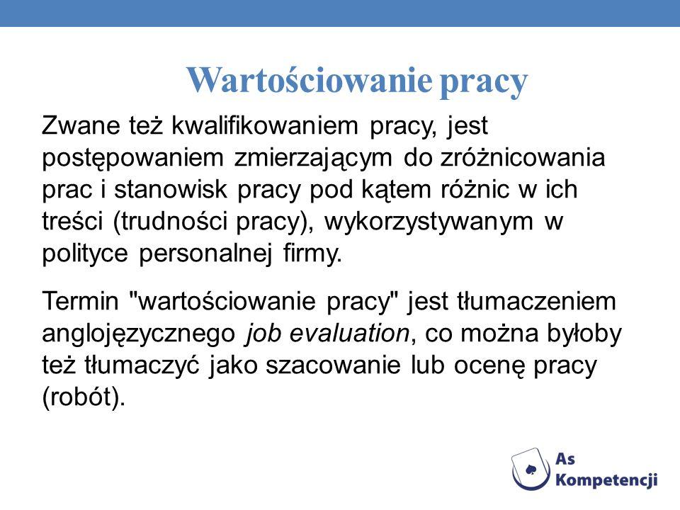 Wartościowanie pracy W polskiej terminologii mówi się o wartościowaniu pracy (obecnie najczęściej) lub o kwalifikowaniu pracy (rzadziej - choć, być może poprawniej).