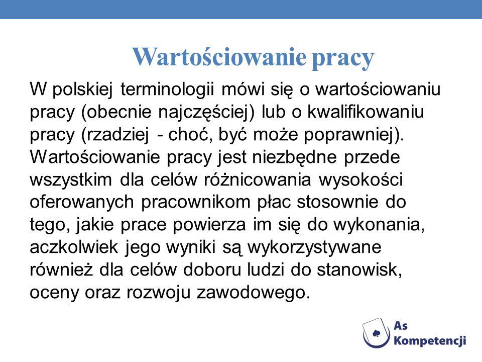 Wartościowanie pracy W Polsce, na szeroką skalę, próbowano wprowadzić wartościowanie pracy metodą UMEWAP (w wersjach UMEWAP-85 i UMEWAP- 97 - promowana przez ówczesne Ministerstwo Pracy i Spraw Socjalnych)