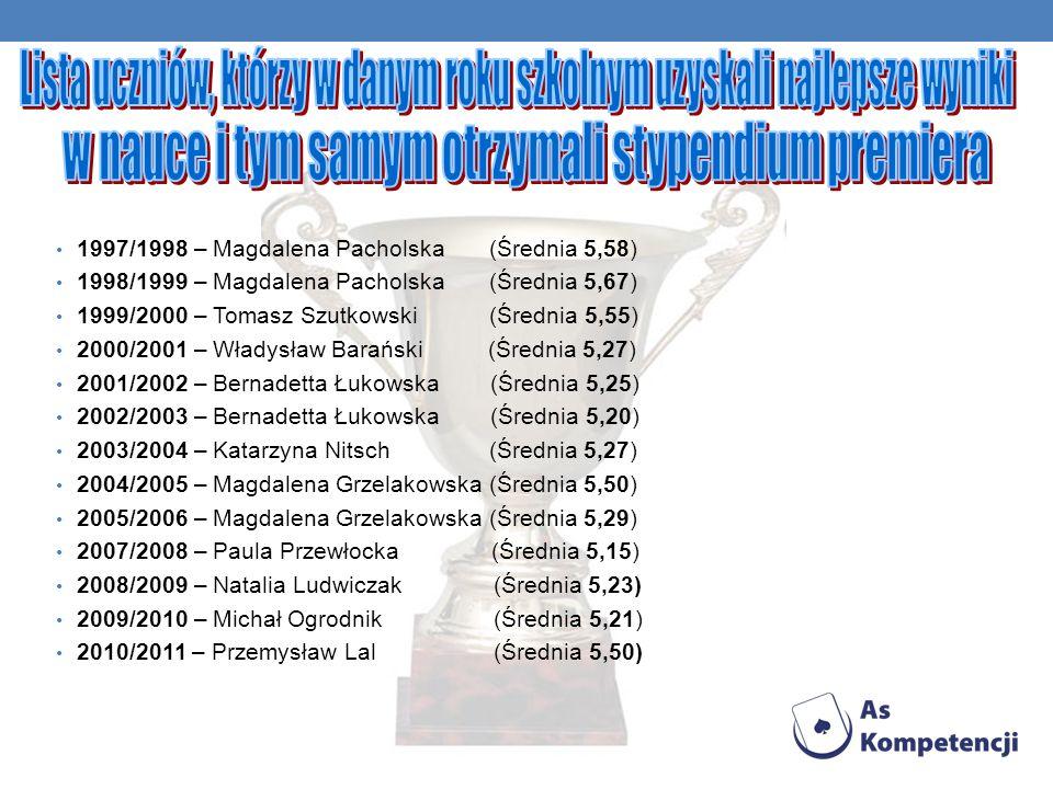 1997/1998 – Magdalena Pacholska (Średnia 5,58) 1998/1999 – Magdalena Pacholska (Średnia 5,67) 1999/2000 – Tomasz Szutkowski (Średnia 5,55) 2000/2001 – Władysław Barański (Średnia 5,27) 2001/2002 – Bernadetta Łukowska (Średnia 5,25) 2002/2003 – Bernadetta Łukowska (Średnia 5,20) 2003/2004 – Katarzyna Nitsch (Średnia 5,27) 2004/2005 – Magdalena Grzelakowska (Średnia 5,50) 2005/2006 – Magdalena Grzelakowska (Średnia 5,29) 2007/2008 – Paula Przewłocka (Średnia 5,15) 2008/2009 – Natalia Ludwiczak (Średnia 5,23) 2009/2010 – Michał Ogrodnik (Średnia 5,21) 2010/2011 – Przemysław Lal (Średnia 5,50)