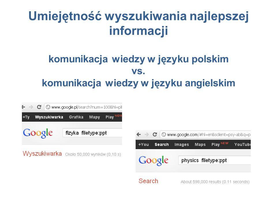 Umiejętność wyszukiwania najlepszej informacji komunikacja wiedzy w języku polskim vs.