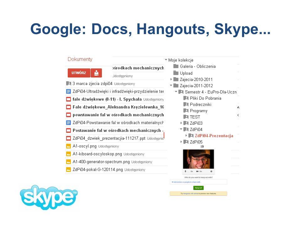 Google: Docs, Hangouts, Skype...