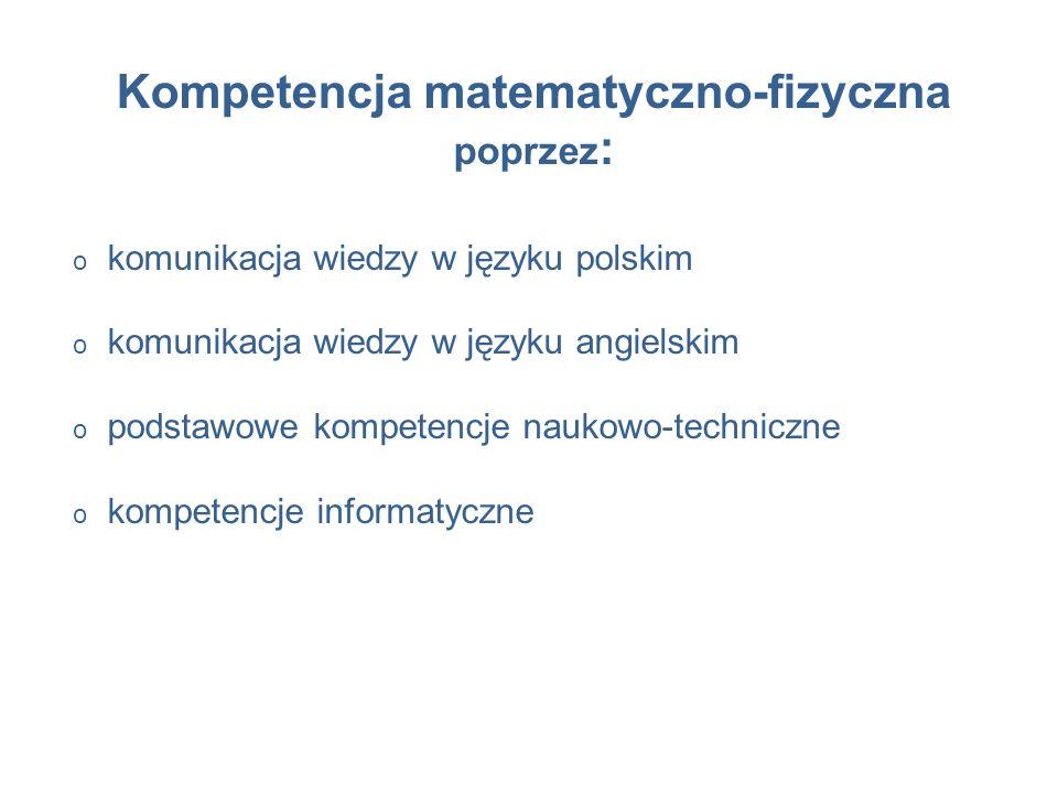 Kompetencja matematyczno-fizyczna poprzez : o komunikacja wiedzy w języku polskim o komunikacja wiedzy w języku angielskim o podstawowe kompetencje naukowo-techniczne o kompetencje informatyczne
